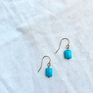 Authentic Turquoise Stone on GP Hook Earrings